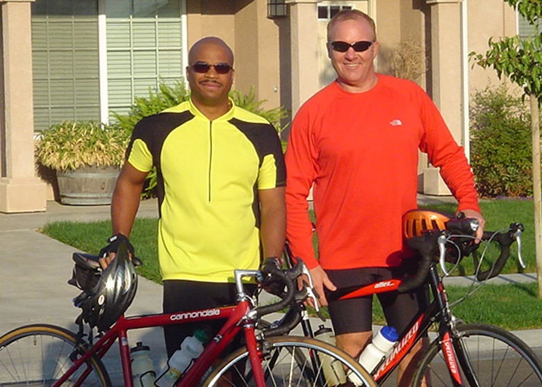 Air Force Reservist Master Sgt. David Miller (right), from the 940th Civil Engineer Squadron at Beale Air Force Base, Calif., and his friend Travon Robinson, whose brother died of AIDS, are training for the AIDS/LifeCycle 6 bicyle ride June 3-9, 2007. The event is a seven-day 545 mile ride from San Francisco to Los Angeles to help raise money for people with HIV/AIDS, and raise awareness and increase knowledge about the disease. (Courtesy Photo)
