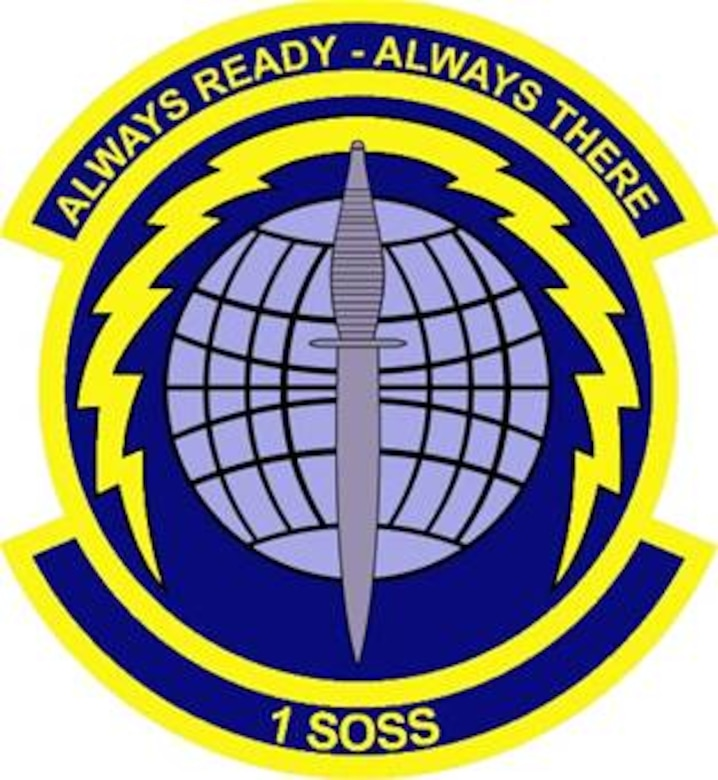 The 1st Special Operations Support Squadron emblem significance: Blue alludes to the sky, the primary theater of Air Force operations. Yellow refers to the sun and the excellence required of Air Force personnel. The sphere in the center of the emblem represents the unit's worldwide commitment to support special operations. The lightning bolt surrounding the sphere alludes to unit's rapid response mission to employ forces anywhere around the world. The lightning bolt also represents the unit's responsibility in pursuit of excellence in providing command and control, planning, communications, intelligence, weather, airfield operations, and medical support in maintenance of AF Special Operations Forces. The dagger reflects the commitment by the unit to uphold the proud heritage of the air commandos.
