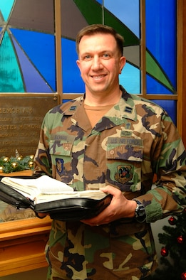 Chaplain, Captain Jim Buckman, is reaching out to members of the 442nd Fighter Wing in his role as the wing's newest chaplain.  Chaplain Buckman was in the Army National Guard before transferring to the wing last year.  (U.S. Air Force photo/Maj. David Kurle)