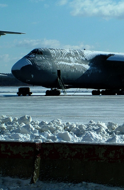 WESTOVER AIR RESERVE BASE, Mass. -- Four inches of snow fell Feb. 2 on the flightline giving the 10 newly assigned C-5Bs a taste of the New England winter. These newer B-models were orignally assigned to Dover Air Force Base, Delaware and where built in the 1980s making for a much younger fleet of 16 C-5s at Westover.