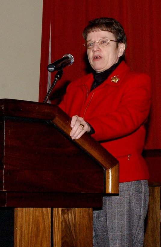Lorraine Potter, a retired major general who holds the distinction of being the Air Force's first female chaplain, speaks at the National Prayer Luncheon Feb. 12 at the Galaxy Club on RAF Mildenhall.