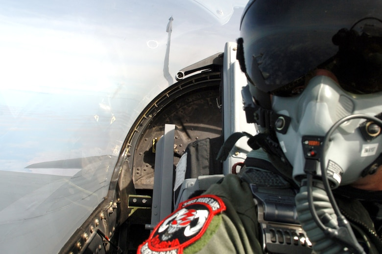 "An F-16 Fighting Falcon piloted by Lt. Col. Tom ""Divot"" Smith flies over Peru during dissimilar air combat training as part of Falcon and Condor 2007, a joint exercise between the U.S. and Peruvian Air Forces. The exercise allows the U.S. military to build relationships with military and civilian leaders of Peru. The F-16 is from the 34th Fighter Squadron at Hill Air Force Base, Utah. (U.S. Air Force photo/Tech. Sgt. Eric Kreps)"