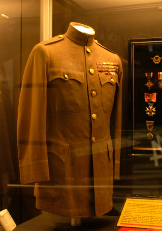 DAYTON, Ohio - Gen. Billy Mitchell's high collar jacket tailored for him in June 1921. The jacket is on display in the Early Years Gallery at the National Museum of the U.S. Air Force. (U.S. Air Force photo)