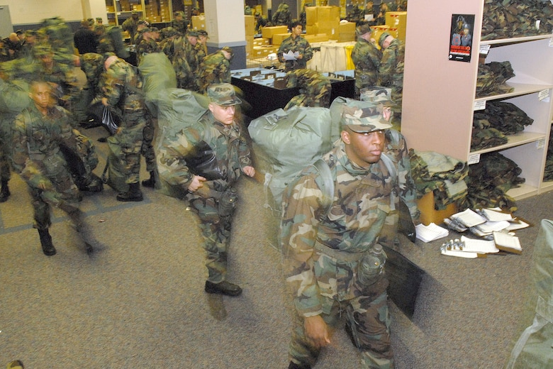 New basic military trainees rush through Initial Clothing Issue at Lackland Air  Force Base d13a62b7fa67