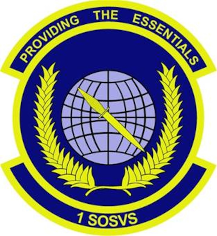 1st Special Operations Services Squadron emblem significance: The disc is divided into dark and light blue to suggest the unit's day/night service operations. The globe signifies the worldwide duty commitment of the unit and it's worldwide mobility and quick response commitment of the unit's PRIME RIBS teams. The grid lines and olive branches represent the unit's constant striving for peace and serenity of the world--the mission will be accomplished, be it during peacetime or wartime. The dagger reflects the commitment by six major flights of the unit to uphold the proud heritage of the air commandos.