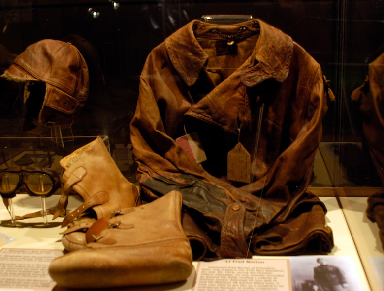 DAYTON, Ohio - Lt. Fred Norton's flying jacket on display in the Early Years Gallery at the National Museum of the U.S. Air Force. (U.S. Air Force photo)