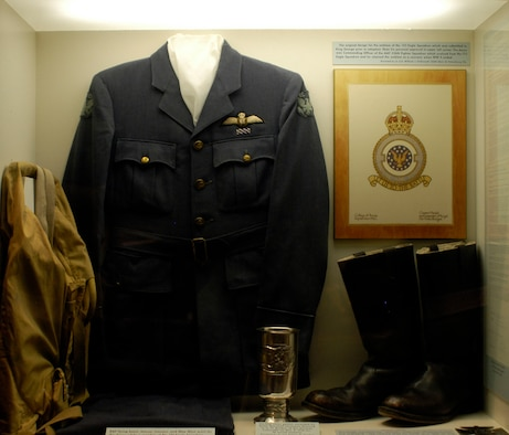 DAYTON, Ohio - RAF flying boots, blouse, trousers and Mae West on display in the Early Years Gallery at the National Museum of the U.S. Air Force. The uniform was worn by Col. Reade Tilley, USAF retired, while a member of the No. 121 Eagle Squadron. (U.S. Air Force photo)