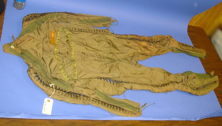 This flying suit was worn by Chuck Yeager during his X-1 flight tests in 1947. (U.S. Air Force photo)