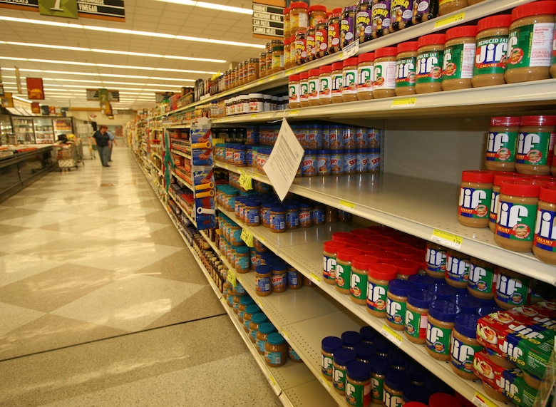 Commissary customers will find empty spaces on the shelves where the store has pulled the Peter Pan brand of peanut butter after it was linked to a Salmonella outbreak.