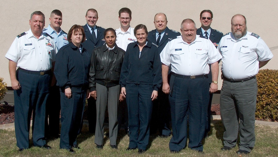 From Left to Right are Civil Air Patrol officers (Row 1) Maj. Maurice Clement, Senior Member Lisa Knight, 1st Lt. Sabina Crymes, 2nd Lt. Johanna Augustine, Capt. Bill Knight and Capt. Paul Kirk. (Row 2) Capt. Scott Dellinger, 1st Lt. James Keohane, 1st Lt. Stephen White, Capt. David Crymes and Capt. David Wolfe. (Civil Air Patrol Photo by Maj. Dana Gray)
