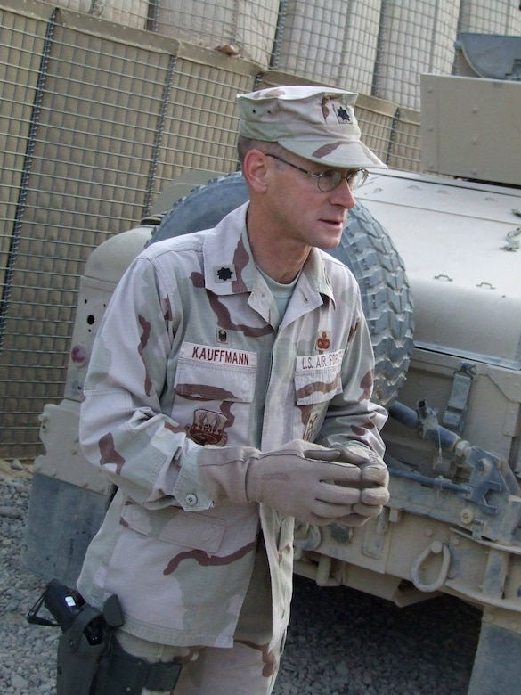 Lt. Col. Steve Kauffmann prepares to depart on a convoy from Contingency Operating Base Speicher, Iraq. Deployed from the Pentagon, Colonel Kauffmann is the commander of the 732nd Expeditionary Security Forces Squadron's Detachment 6 at COB Speicher. Detachment Airmen send convoys out daily to assess the capability of Iraqi police stations in the Salah ad Din province. (U.S. Air Force photo/Maj. Richard C. Sater)