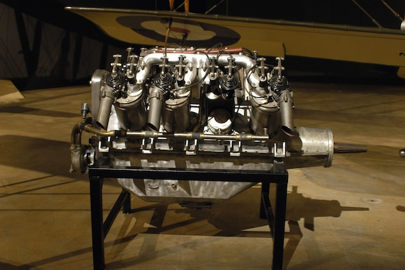DAYTON, Ohio -- Curtiss V2-3 engine on display in the Early Years Gallery at the National Museum of the United States Air Force. (U.S. Air Force photo)