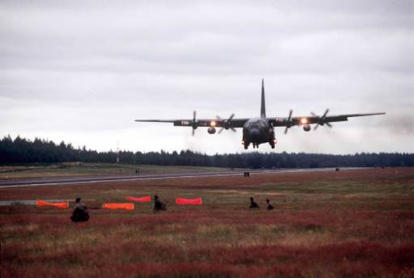 A C-130 Hercules prepares to land. C-130s are flown by Airmen assigned to the 913th Airlift Wing at Naval Air Station Joint Reserve Base in Willow Grove, Pa. Air Force Reserve Command officials briefed congressional leaders Jan. 3 on plans to deactivate the command's 913th AW. (U.S. Air Force photo)