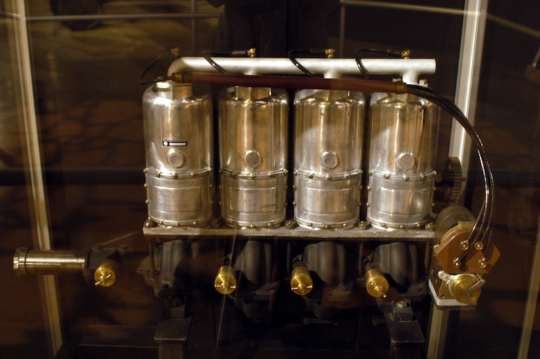 DAYTON, Ohio -- Roberts Model 4-X engine on display in the Early Years Gallery at the National Museum of the United States Air Force. (U.S. Air Force photo)
