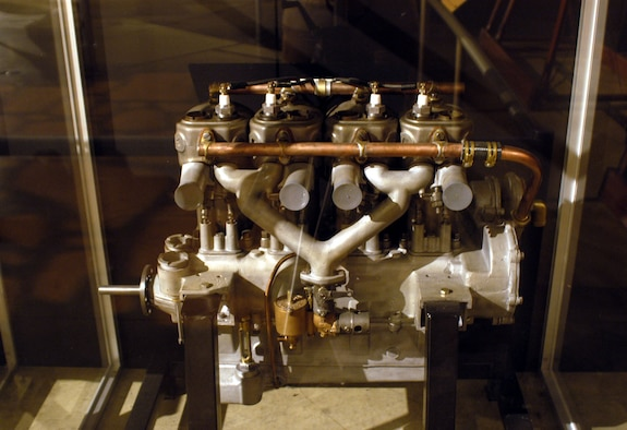 DAYTON, Ohio -- Kirkham 4-cylinder engine on display in the Early Years Gallery at the National Museum of the United States Air Force. (U.S. Air Force photo)
