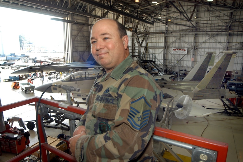 Master Sgt. John Ferrara, an aircraft maintenance craftsman, has spent his entire 25-year career with the 653rd Combat Logistics Support Squadron. Sergeant Ferrara will retire from the Air Force in May. U. S. Air Force photo by SUE SAPP