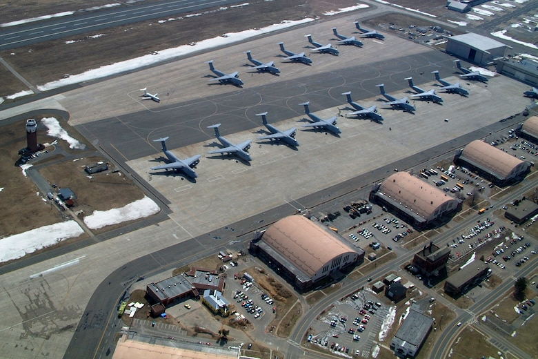 WESTOVER AIR RESERVE BASE, Mass. -- A view of Westover's flightline full of C-5s  from a Mass. State Police helicopter. (U.S. Air Force photo by Master Sgt. W.C. Pope)