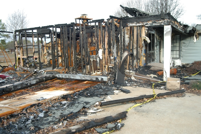 Shawn and Lisa Williams lost their home to a fire in October. Pictured is what was left following the destruction. U.S. Air Force photo by SUE SAPP