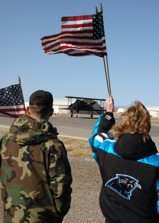 Both Holloman Airmen and Alamogordo community members came to the flightline Jan. 8 to say farewell to the 9th Fighter Squadron F-117A pilots headed to the Republic of Korea for a preplanned deployment. (U.S. Air Force photo by Airman Jamal Sutter)