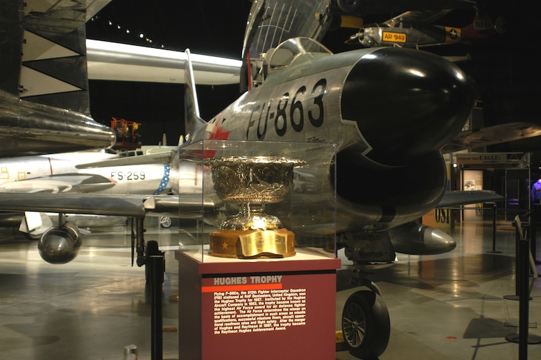 DAYTON, Ohio -- 1957 Hughes Trophy on display near the F-86D in the Cold War Gallery at the National Museum of the United States Air Force. (U.S. Air Force photo)