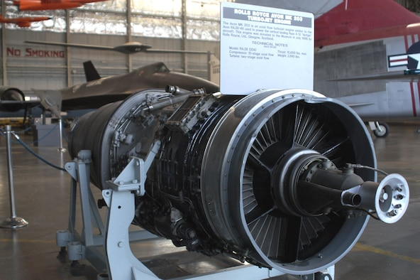 DAYTON, Ohio -- Rolls Royce Avon MK 203 on display in the Research & Development Gallery at the National Museum of the United States Air Force. (U.S. Air Force photo)