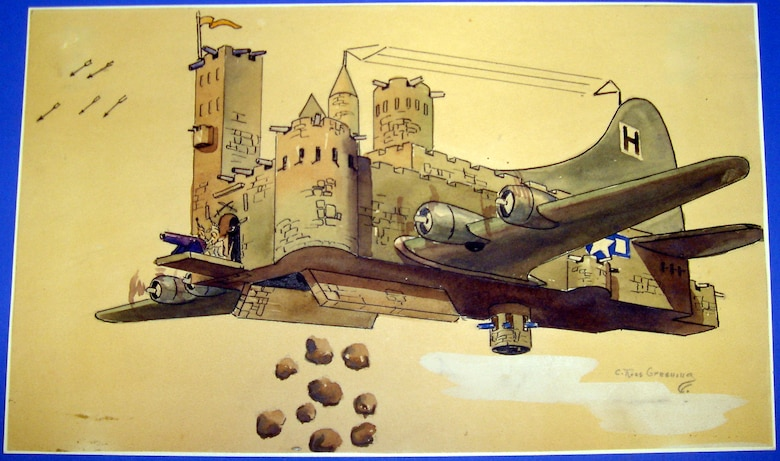"""The B-17's capacity to repel enemy attacks and still inflict heavy damage to the German war machine and production centers is imaginatively rendered by C.R. Greening in this colorful caricature. Completed by Lt. Col. C. Ross Greening while prisoner at Stalag Luft I, Barth Germany in 1944-1945, this work is part of a collection of artwork that was published after the war in his book titled """"Not As Briefed."""" (U.S. Air Force photo)"""