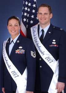 The 2007 Lackland Air Force Base Ambassadors: Capt. C. Brent Dishman, 37th Training Wing Judge Advocate General Office, and Tech. Sgt. Magdalena Cortez, 737th Training Group