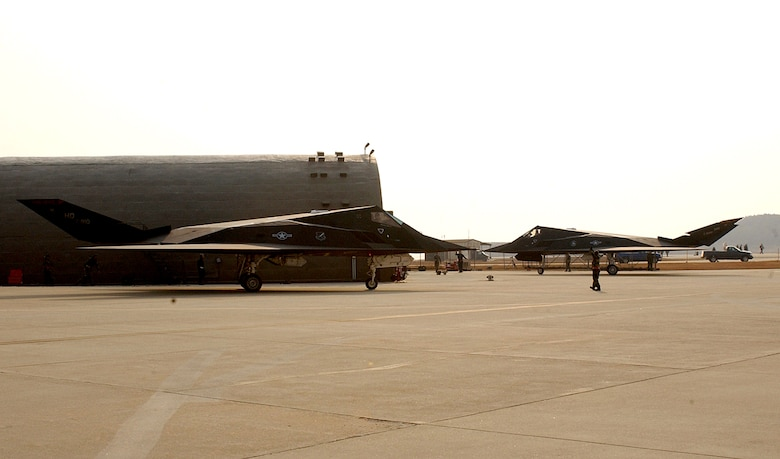Senior Airman Jason Stanfield ushers in an F-117 Nighthawk after its arrival Jan. 11 to Kunsan Air Base, Republic of Korea. The aircraft, together with 300 Airmen, deployed here from Holloman Air Force Base, N.M., as part of a routine Air Expeditionary Force rotation. The aircraft, assigned to the 9th Expeditionary Fighter Squadron, is part of the third squadron of Kunsan AB's host unit, the 8th Fighter Wing, during the deployment's duration. Airman Stanfield is an F-117 crew chief. (U.S. Air Force photo/Senior Airman Darnell Cannady)