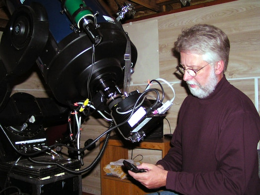 Scott Donnell uses a 12-inch reflecting telescope to observe variable stars, asteroids and even GPS satellites. Mr. Donnell is an aerospace engineer with AI Solutions who has worked with the 4th Space Operations Squadron at Schriever Air Force Base, Colo. (photo courtesy of Scott Donnell)