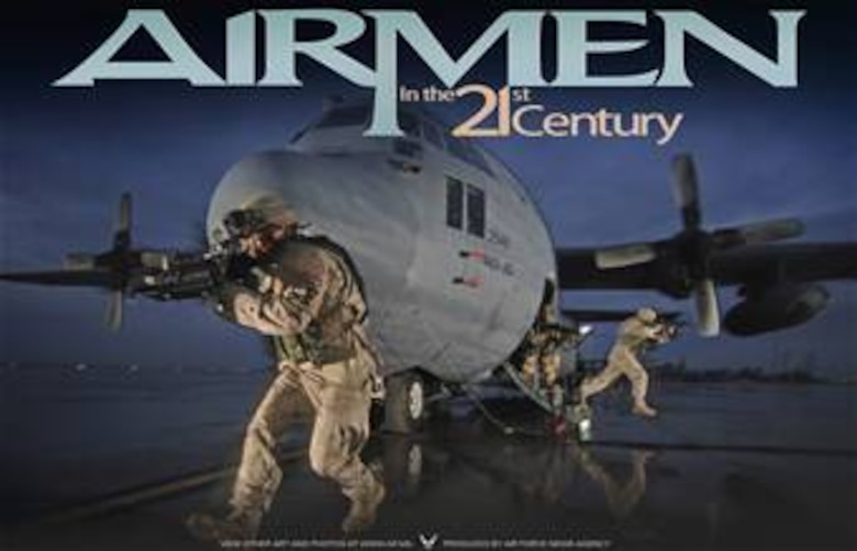 Staff Sgt. Tony Rivera and Senior Airmen Jason Bauer and Darryll Morley, provide aircraft security for a C-130 Hercules aircraft. U.S. Air Force photo by Master Sgt. Lance Cheung. This poster is 9x14 inches @ 300 ppi and was created by Virginia Reyes of the Air Force News Agency. This image is 10x6.5 @ 300 ppi and is available up to 14x9 @ 300 ppi. Poster is also available as a PDF