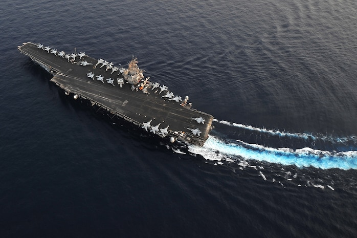 Aircraft carrier USS Enterprise steams along the East Coast during the composite training united exercise. The USS Enterprise is deployed to the United States' 5th fleet area of responsibility conducting maritime security operations, theatre security cooperation efforts and support missions as part of Operation Enduring Freedom.