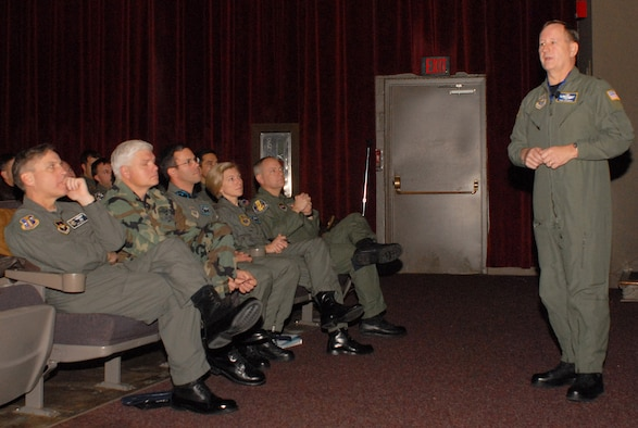 Brig. Gen. Frederick Roggero, Air Mobility Command deputy director of Air, Space and Information Operations, briefs aircrews Jan. 11 on the importance of remaining vigilant while flying missions. Recently, aircrews have seen an increase in the occurrence of Class A mishaps with Department of Defense aircraft -- five in the last 16 months. (Photo by Airman 1st Class Nathan Allen)