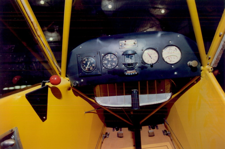 DAYTON, Ohio -- Piper J-3 Cub cockpit at the National Museum of the United States Air Force. (U.S. Air Force photo)