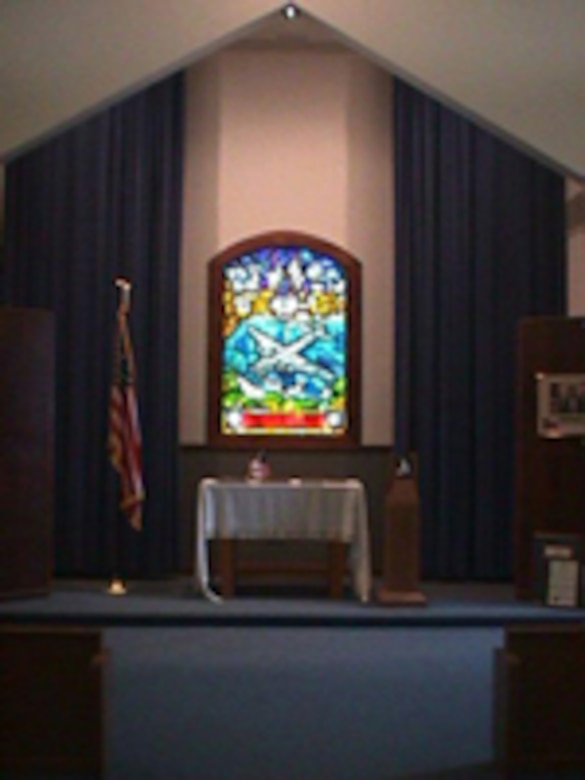 Today the Chapel houses the 384th Bomb Group Memorial Stained Glass Window, an exact duplicate of a memorial stained glass window donated by the 384th Bomb Group to the Parish Church of St. James the Apostle in the village of Grafton Underwood, near Kettering, England. (Hill Field was the parent base of Wendover Army Air Field in western Utah, where the 384th trained in 1943 in Boeing B-17 Flying Fortresses for action in Europe in World War II. Grafton Underwood was near USAAF Station 106, home base of the 384th in the European theater of operations during the war.)