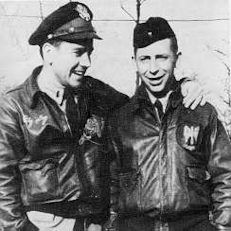 "Only two aircraft in the entire Eighth Air Force were ever named after individuals and both of them were in the 384th Bomb Group. Lieutenant Walter Harvey (left) was known as ""Big Dog"" and B-17 42-102661 SU-L was named in his honor after he was shot down. Lieutenant Nathan ""Mike"" Mazer (right) was a squadron armaments officer, but went on many combat missions unofficially. As he was Jewish, B-17 42-98000 SU-J was named ""Fightin' Hebe"" as a tribute to his spirit."