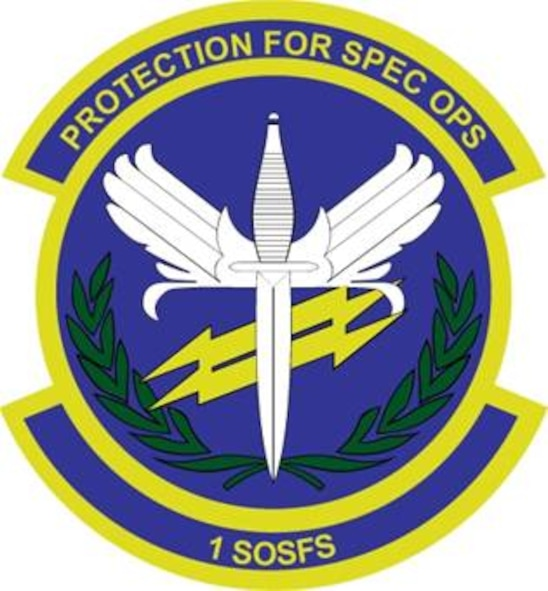 1st Special Operations Security Forces Squadron: Blue represents the sky, the primary theater of Air Force operations. Yellow signifies the sun and the excellence required of Air Force personnel. The white winged dagger depicts the prime wartime function of the Security Forces, air base ground defense. The charge also represents the unit's historical association with Special Operations. The yellow lightning bolts symbolize the dual functions of home station and deployed locations service to the parent organization. The olive branch denotes the peacekeeping function of all Security Forces.