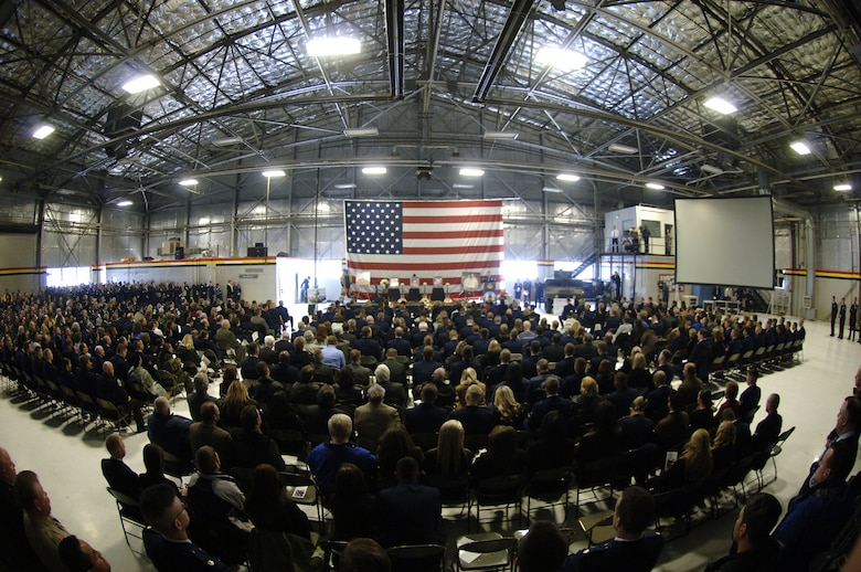 Attendees filled a hangar during a Memorial Service held Friday at Hill AFB for three killed in Iraq.  The three Airmen were members of the 775th Civil Engineer Squadron's Explosive Ordnance Disposal Flight.