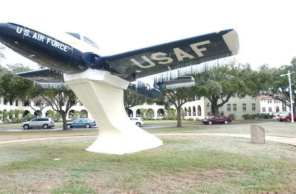 T-37 Static Display sits frozen at Randolph Air Force Base