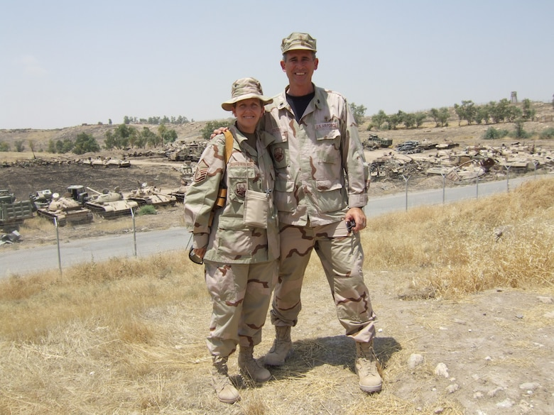 Lt. Col. Fulton with  Chaplain's Assistant  Master Sgt. Janet O'Keeffe-Hernandez during their deployment to Iraq.