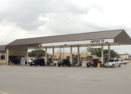 Patrons who fuel their vehicles at the Army and Air Force Exchange Service troop store on the training side of Lackland Air Force Base, Texas, will have to change their fueling destination when the pumps undergo upgrades beginning Feb. 5. The upgrades are expected to take 10 days or less. (USAF photo by Armando Flores)