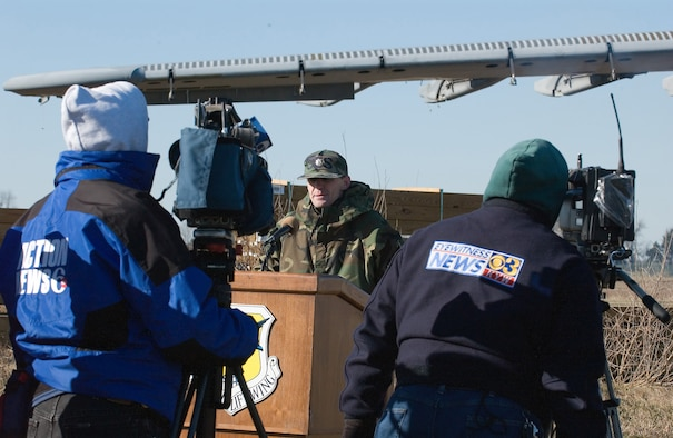 Lt. Col. Mark Ruse, 436th Civil Engineer Squadron commander at Dover Air Force Base, Del., discusses the events leading up to the April 3, 2006 C-5 mishap aircraft removal process during a press conference Jan. 17. Prior to chopping the wings off the aircraft, the contractor prepared the site for demolition and cleaned the interior of the aircraft of any contaminants and waste. (U.S. Air Force photo/Roland Balik)