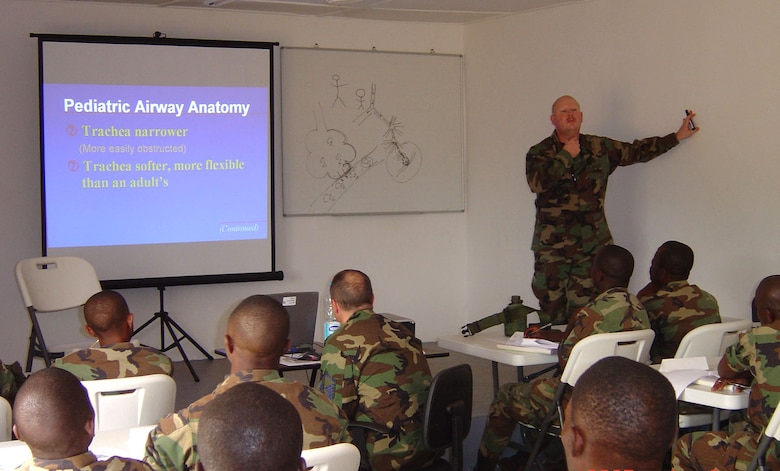 Senior Master Sgt. Daryl Webb teaches respiratory-system anatomy to members of the Armed Forces of Liberia. Sergeant Webb is assigned to the 435th Medical Operations Squadron from Ramstein Air Base, Germany. (Courtesy photo)