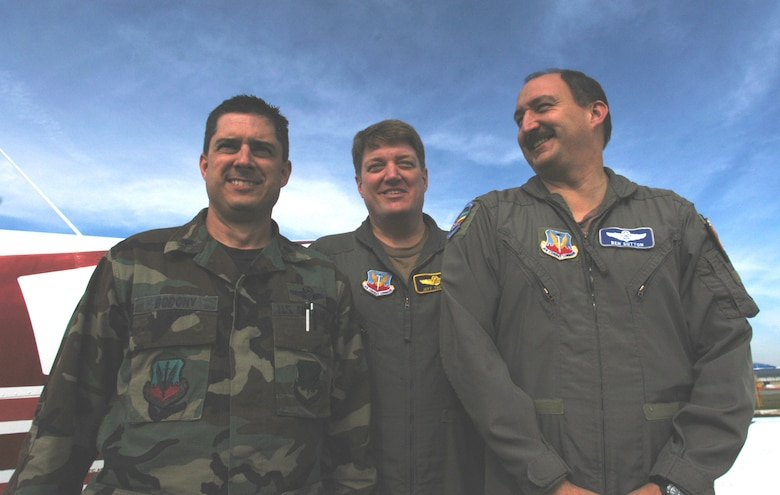 Lt. Col. Jeff Thetford, middle, landed a gerneral aviation aircraft at all 106 airfields in Georgia with the help of friends, Lt. Cols. Ed Bododny, left, and Ben Sutton. The trip was put together to raise awareness of the Robins Air Force Base Aero Club and the Georgia Air National Guard, it took nearly three years to complete.
