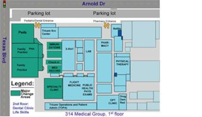 The $3.7 million 314th Medical Group Phase Two remodeling project involves several areas of the clinic. The graphic above highlights the new areas of the 314th MDG.