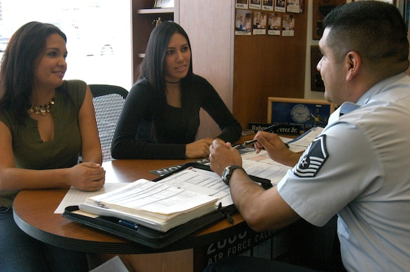 U.S. Air Force Recruiter Master Sgt. Ruben Perez, 341st Recruiting Squadron, shares Delayed Entry Program information with new recruits Melissa Palonio, right, 22, and Jessica Morquecho, 19, of San Antonio. (U.S. Air Force photo/Staff Sgt. Jennifer Lindsey)
