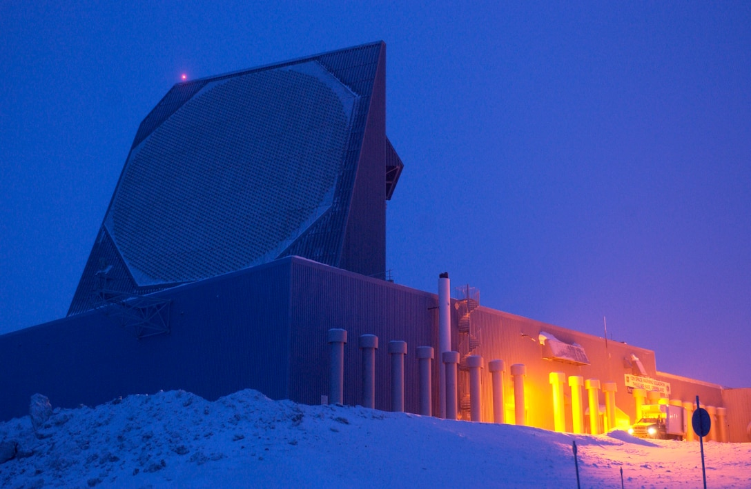 One of the two radar faces of the Ballistic Missile Early Warning System, or BMEWS, site is captured using time-lapsed photography to show the minimal amount of available light during twilight Jan. 25 at Thule Air Base, Greenland. (U.S. Air Force photo/Michael Tolzmann)