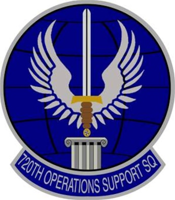 720th Operations Support Squadron emblem significance: Ultramarine blue and Air Force yellow are the Air Force colors. Blue alludes to the sky, the primary theater of Air Force operations.Yellow refers to the sun and the excellence required of Air Force personnel. The grid lined globe denotes the world wide commitment of the squadron. The winged sword represents the excellence expected of all Air Force members. The compass rose symbolizes the battlefield Airmen whose operational capabilities are enabled by the squadron. The pillar supporting the sword represents the squadron itself.