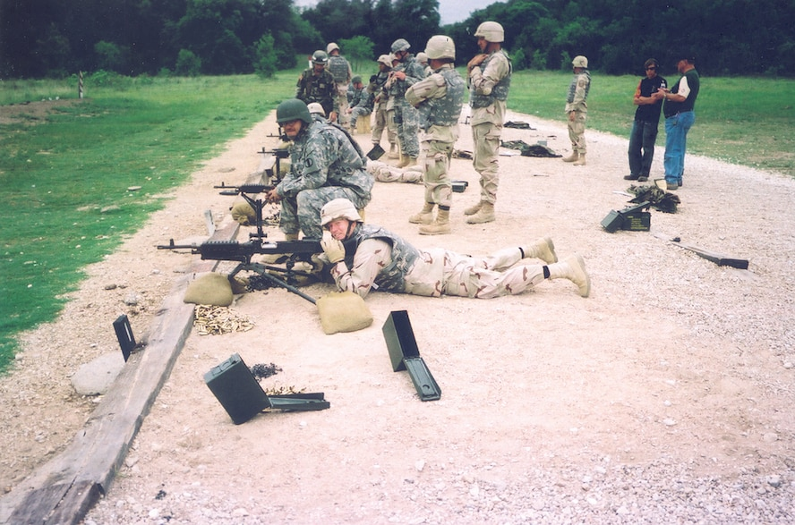 Capt. Scott MacNeil, 52nd Logistics Readiness Squadron, learns Army shooting techniques at Fort Hood, Texas, before deploying to fill an In Lieu of Forces billet in Iraq. (Courtesy photo)
