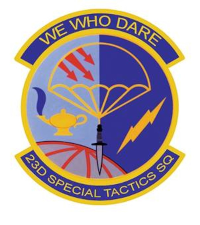 23rd Special Tactics Squadron:   The emblem's blue and yellow are the Air Force colors. Blue alludes to the sky, the primary theater of Air Force operations. Yellow refers to the sun and the excellence required of Air Force personnel. The globe stands for the worldwide commitment of Special Tactics Combat Controllers and Pararescuemen. The two shades of blue signify night and day deployment capability. The parachute and the dagger denote infiltration and commando operations respectively. The arrows represent triple threat capabilities—land, sea, or air. The lightning bolt indicates quick action medical and communications capabilities. The lamp of knowledge reflects the civic action role of the unit, i.e. the unit functions as teachers and medical providers as well as warriors.