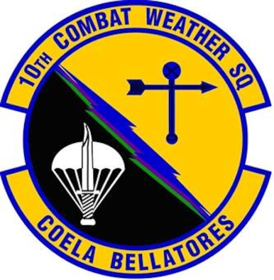 10th Combat Weather Squadron.  The alternating Air Force yellow and black background of the disk represent the role of combat weather forces in combat operations, day or night. The yellow lettering signifies the excellence required by Air Force personnel. The ultramarine/reflex blue border represents our faith in, and allegiance to the Air Force. The white parachute represents the requirement for all individuals of the 10th Combat Weather Squadron to be jump qualified, and the superimposed white dagger links us to our chain of command, the 720thSpecial Tactics Group, Air Force Special Operations Command, and US Special Operations Command. The ultramarine/reflex blue and black wind vane links us to our predecessor, the 10th Weather Squadron. The three lightning bolts represent rapid response of special operations weather forces during contingencies and are: blue representing Air Force, green representing Army, and purple representing joint operations.